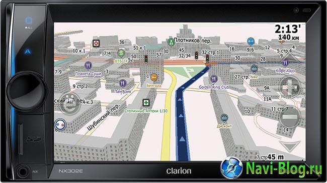 Мультимедийный встраиваемый форм-фактора 2 DIN автомобильный навигатор Clarion NX302E с картой СитиГИД.
