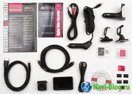 Комплектация автомобильного видеорегистратора ACV GQ15.