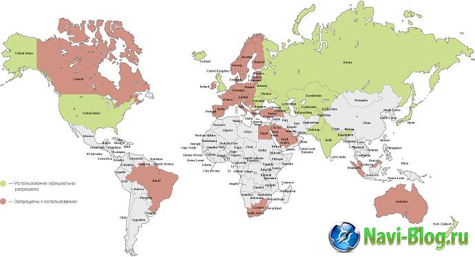 Страны мира, где разрешено использование радар-детекторов